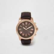 River Island Mens Dark Brown and rose gold round face watch (One Size)