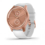 Garmin vívomove Style, Reloj Inteligente híbrido con manecillas Reales y Pantallas táctiles Ocultas, Oro Rosa con Banda Blanca