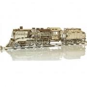 Puzzle 3D mecanic Wooden City Locomotiva cu vagon Lemn natur 580 piese