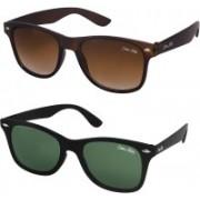 Silver Kartz Wayfarer Sunglasses(Brown, Green)