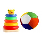Honeyshopee Stuffed Soft Toy Plush Ball (9 cm) with Educational Teddy Stacking Ring Small (5 Rings). let Your Child Learn Different Colours, Stacking and Sorting.