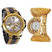 SHREE Ladi Analog Casual Classical White Dial Couple Wrist Watch For Man's Woman's Pack of 2 (Golden-Jaal+Rosra)