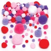 Red, Pink & Purple Pom Poms (Pack of 200)