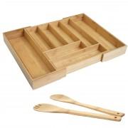 Besteckkasten + Salatbesteck HWC-B20, Schubladeneinsatz Geschirrkasten Servierbesteck Küchenzubehör, Bambus ~ Variantenangebot