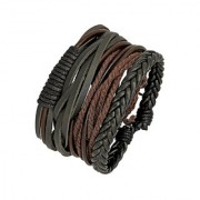 The Jewelbox 100 Genuine Black Leather Brown Dyed Rope Stylish Wrist Band Strand Bracelet Boys Men