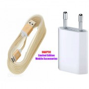 Snaptic Limited Edition Golden Micro USB V8 Cable and 2 Pin Travel Charger for Blackberry Pearl 3G 9100
