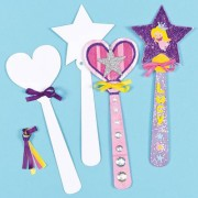 Baker Ross Princess Wand Card Blanks - 8 Large Card Wands to decorate. Includes ribbon. 2 assorted designs. Size 23cm.