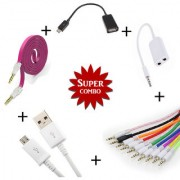 Combo Of Flat Aux Cable V8 Micro USB Data Cable Aux Cable Aux Spliter OTG Cable - Assorted Color