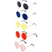 Elligator Round Sunglasses(Red, Yellow, Pink, Black, Blue)