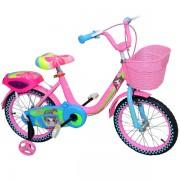 """Bicicleta pentru fetite 16"""" Lilou cu roti ajutatoare si cos de depozitare din plastic, cadru otel Roz"""