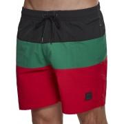 Urban Classics Color Block Herren Badeshorts rot schwarz grün