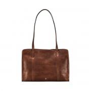 Damen Leder Schultertasche in Cognac Braun - Aktentasche, Umhängetasche, Businesstasche, Laptoptasche