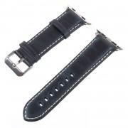 Vintage Oil Wax Genuine Leather Watch Bracelet for Apple Watch Series 4 44mm, Series 3 / 2 / 1 42mm - Dark Blue