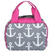Grey Anchors Pink Trim Design Polyester 7.75 inch Insulated Lunch Bag