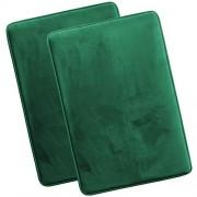 Clara Clark Alfombrilla de baño de Espuma viscoelástica ultrasuave, Antideslizante y Absorbente, Juego de 2 Grandes, Color Verde