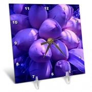 3dRose DC_7795_1 Reloj de Escritorio con diseño de Cocos púrpura, 15.2 x 15.2 cm