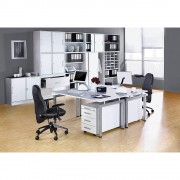 office akktiv STATUS - Schreibtisch Vierkantrohr-Gestell, Breite 1600 mm Buche-Dekor