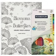 Adult Coloring Book Kit - Blossoms & Butterflies Mandalas with Large Pages and Intricate Bird Butterfly and Flower Designs - Includes 12 Staedtler Watercolor Colored Pencils
