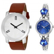 MACRON W-228 Couple Watch Combo Watch White Dial Brown Belt With Blue Silver Watch 228