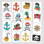 Baker Ross Pirates Temporary Tattoos for Children - Fun Toy Party Bag Filler Loot Gifts Kids (Pack of 24)