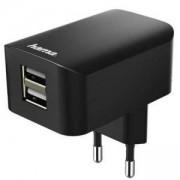 Зарядно 220V HAMA 173757, 2x USB, 3.1A, Черен, HAMA-173757