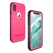 REDPEPPER Dot+ Series Dustproof Snowproof IP68 Waterproof Casing with Kickstand for iPhone XS Max 6.5 inch - Rose
