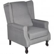 vidaXL Fotoliu/Scaun reglabil pentru TV, material textil, gri