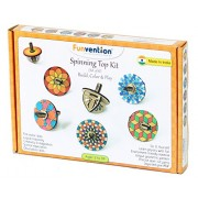 Funvention Spin Table Top Kits - Set of 6 DIY Self Assembly Educational Puzzle Wooden Tops Kit - Coloring & Gravity Leanring Kit for Kids - Birthday Return Gift - Fun Desk Toys – STEM Learning Kit