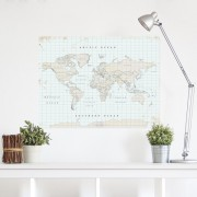Prikbord Wereldkaart van kurk Woody Map XL Vintage | Miss Wood