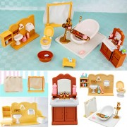 HITSAN INCORPORATION DIY Miniatures Bedroom Bathroom Furniture Sets for Sylvanian Family Dollhouse Accessories Toys Gift
