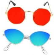 BKGE Cat-eye Sunglasses(Blue, Red)