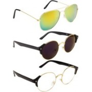 NuVew Aviator, Round Sunglasses(Blue, Clear, Golden, Violet)