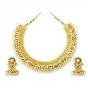 Jewels Gehna Fashion Designer Fashionable Golden Necklace Set With Earring Set For Women Girls