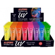 Display machiaj, 40 tub x 10ml/display, ALPINO Make-Up UV - 8 culori ultraviolete