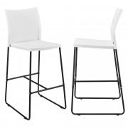[en.casa]® Bárszék Moszkva 2 darabos design konyhai szék szett 107 x 31 x 48 cm fehér