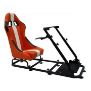 FK-Automotive siège de jeu pour PC et consoles de jeux faux cuir orange/blanc