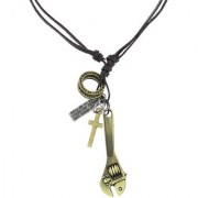The Jewelbox Hip Hop Punk Pipe Wrench Cross Bronze Vintage Dog Tag Leather Pendant Chain For Boys Men