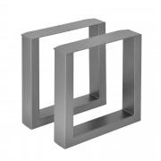 [en.casa]® 2 x Conjunto de Patas de mesa - Set de 2x patas de mesa - Metal - Patas de los muebles - 40 x 43 cm - Para banco o para mesa de centro - Armazón de mesa - Con protección para suelo - Gris metálico