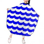 """KATEJ Professional Barber Cape Salon Aprons Navy Blue Sea Ocean Waves Striped Boys Girls Hair Styling Haircut Gown For Cutting Coloring Perming Hairdresser Shampoo Proof 39"""" X 47"""