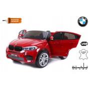 BMW X6 M Mașinuță electrică pentru copii, vopsită în Roșu, Două Scaune din Piele, 2x 120W, Licență Originală, Cu Baterii, Uși care se deschid, frână electrică, 2x motoare, Baterie 12V10Ah, Telecomandă 2.4 Ghz, roți ușoare EVA, pornire Lină