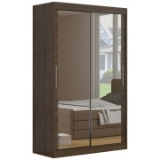 Armoire contemporaine à 2 portes coulissantes 180 cm coloris marron