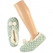 Apollo Mintgroene ballerina huispantoffels/sloffen stipjes print voor dames maat 37-39