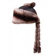 Шапка от чинчила с опашка - кафява