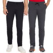 Cliths Men's Pack Of 2 Solid Cotton Sports Jogger (Dark Grey Black)
