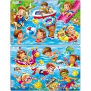 Set 2 Puzzle-uri Copii la Mare Larsen, 11 piese