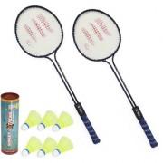 Roxon Polo Badminton Racquet set OF 2 Piece with 6 Piece Sunley Plastic Shuttle