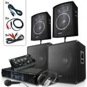 "Skytec Система ""Bass Mountain"" 2000W, DJ комплект 4 високоговорителя, усилвател, микс (2.2-2000-Watt-USB)"