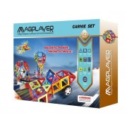 Joc de constructie magnetic Magplayer, 72 piese, ajuta copilul sa invete forme geometrice