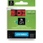 Dymo 45017 - Dymo D1 Tape svart på röd 12mm x 7m