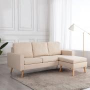vidaXL 3-местен диван с поставка за крака, кремав, текстил